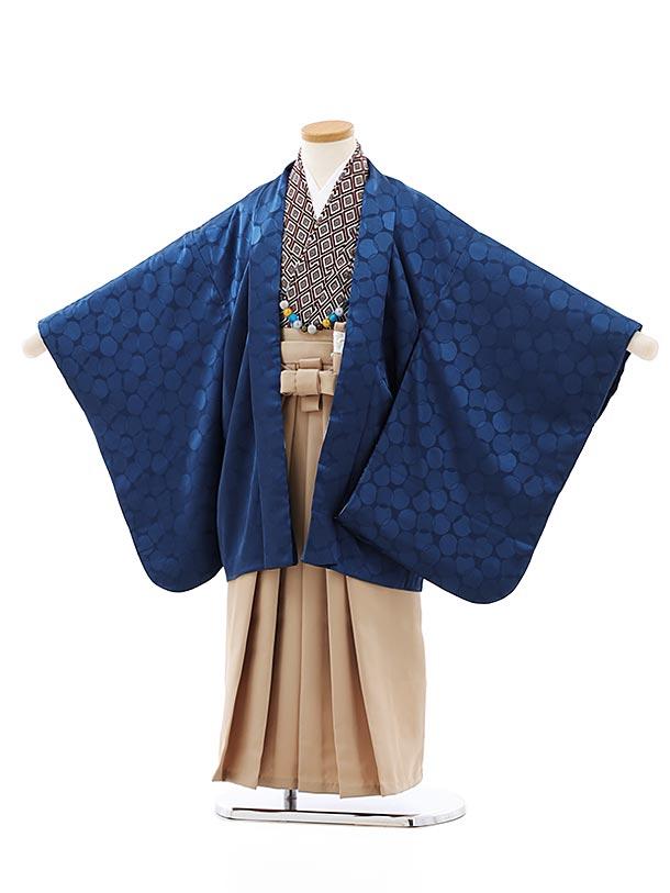 七五三レンタル(5歳男袴)5847紺地ドットxベージュ袴