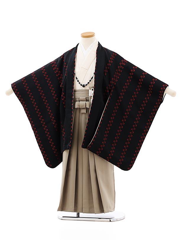 七五三レンタル(5歳男袴)5848黒地赤変わり柄xベージュ袴
