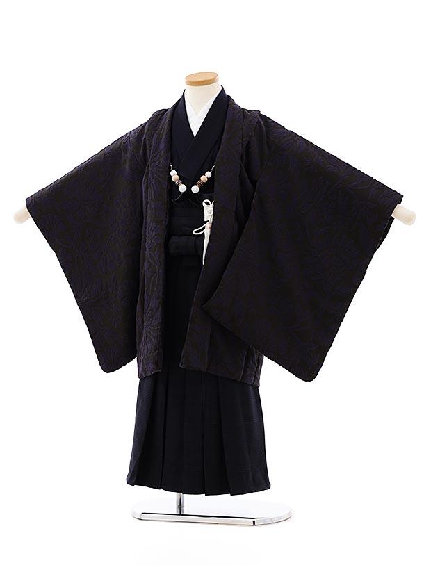 七五三レンタル(5歳男袴)5852SABINUKI 黒紺花x紺チェック