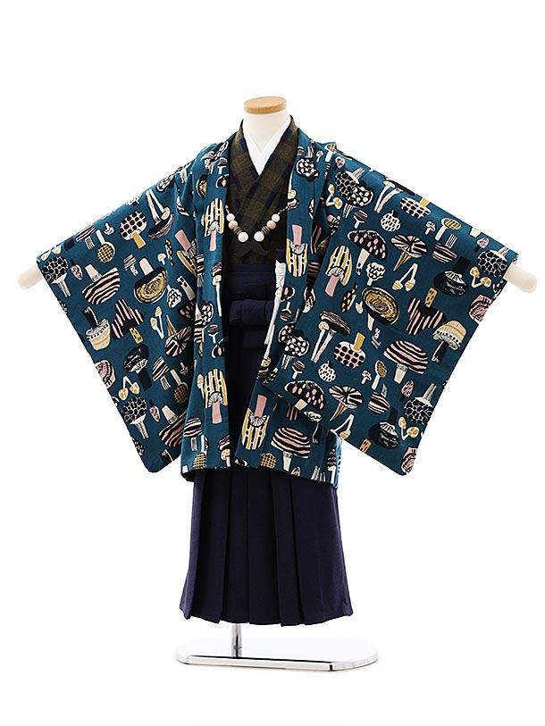七五三レンタル(5歳男袴)5853SABINUKI グリーンきのこx紺
