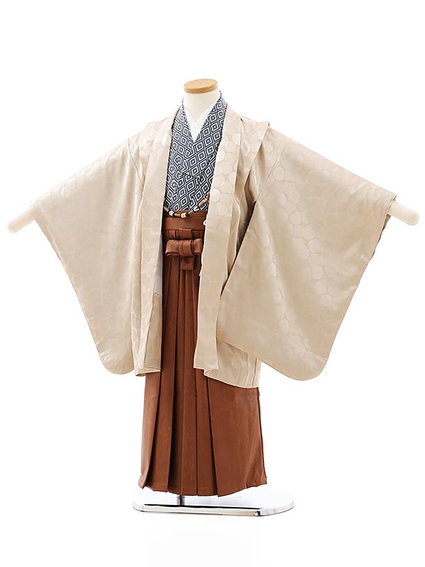 七五三レンタル(5歳男袴)5859ベージュ地ドット地模様x茶色レザー風袴