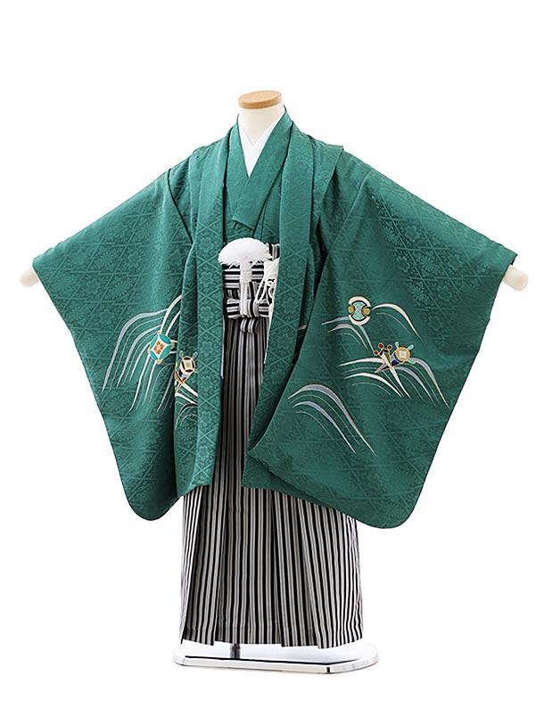 七五三レンタル(5歳男袴)(高級正絹)5860グリーン地波に鷹x黒白縞袴