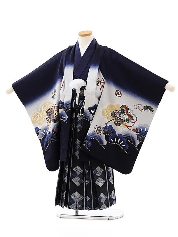 七五三レンタル(5歳男袴)5864紺地松に吉祥文様x紺菱袴