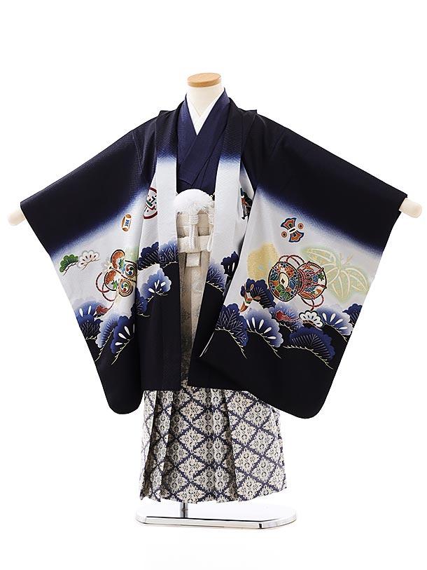 七五三レンタル(5歳男袴)5868紺地松かぶとx白紺ぼかし袴