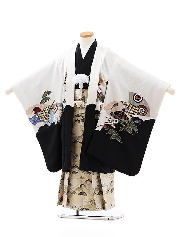七五三レンタル(5歳男袴)5870白地裾黒鷹かぶとx白松袴