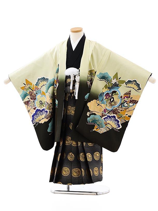 七五三レンタル(5歳男袴)5872ヒワ色裾黒鷹x黒ゴールド袴