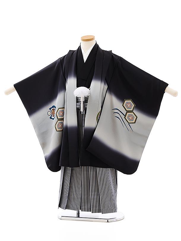 七五三レンタル(5歳男袴)(正絹)5874黒地宝舟x紺縞袴