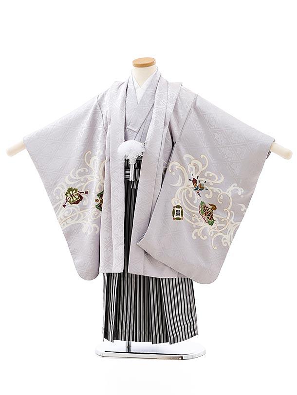 七五三レンタル(5歳男袴)(高級正絹)5875グレー龍x黒縞袴