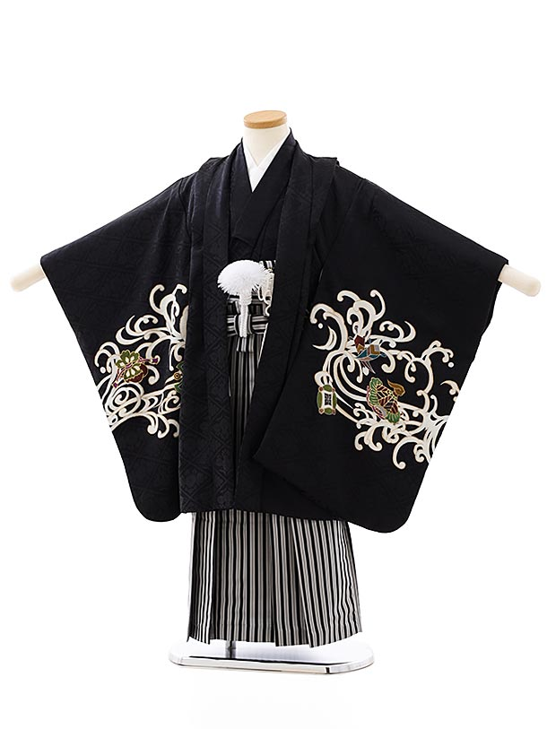 七五三レンタル(5歳男袴)(高級正絹)5876黒地龍x黒縞袴