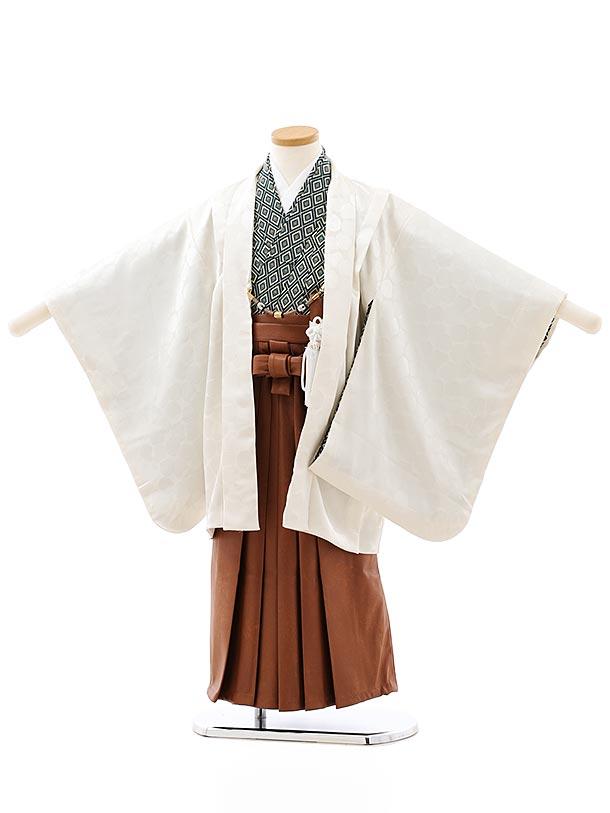七五三レンタル(5歳男袴)5878オフホワイト地ドット地模様x茶色レザー風袴
