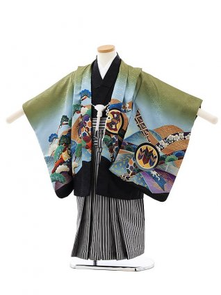 かんたん七五三レンタル(4・5歳男袴)5880グリーン裾黒兜x紺縞袴