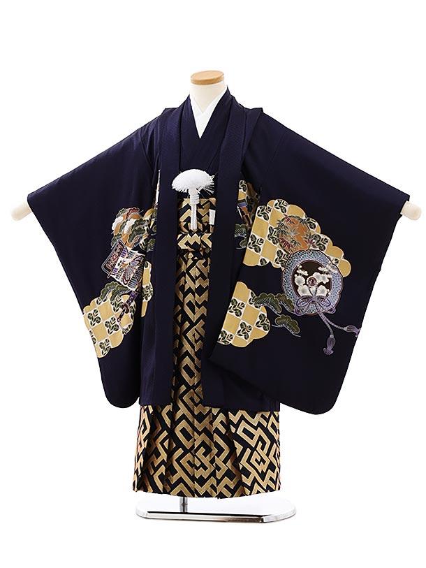 七五三レンタル(5歳男袴)5881【正絹】濃紺地小槌に兜x黒金袴