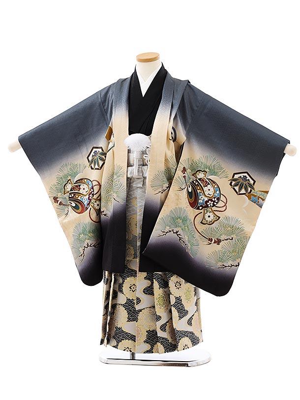 七五三レンタル(5歳男袴)5884【正絹】グレー裾黒小槌に兜x白黒ぼかし袴