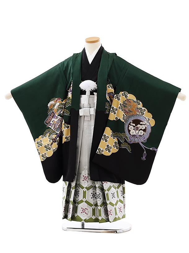 七五三レンタル(5歳男袴)5885【正絹】深緑裾黒小槌に兜x白緑ぼかし袴