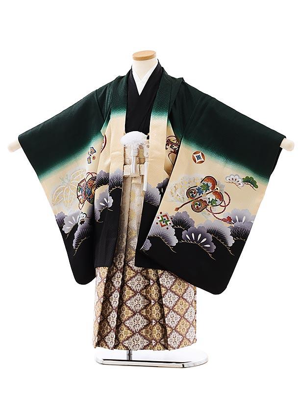 七五三レンタル(5歳男袴)5886【正絹】深緑裾黒丸紋に鷹x白赤茶ぼかし袴