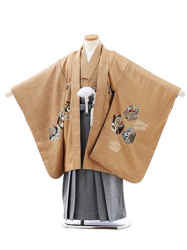 七五三レンタル(5歳男袴)5891(高級正絹)キャメル色松吉祥文様x紺細縞袴