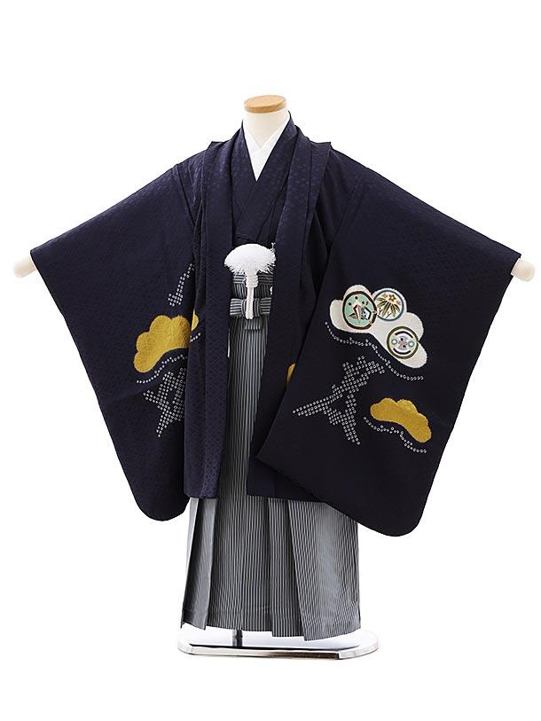 七五三レンタル(5歳男袴)5892(高級正絹)紺地松に丸紋x紺細縞袴
