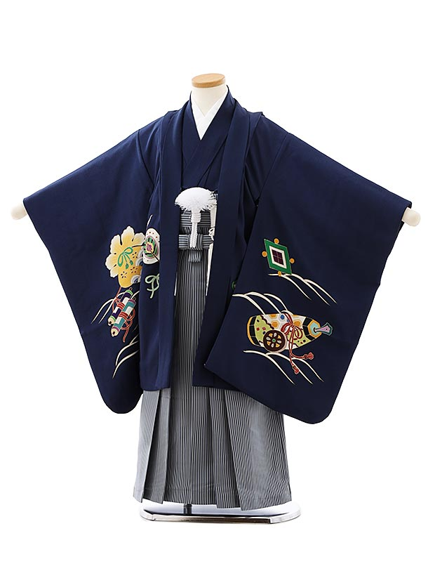 七五三レンタル(5歳男袴)5893(高級正絹)岡重紺地宝舟x紺細縞袴
