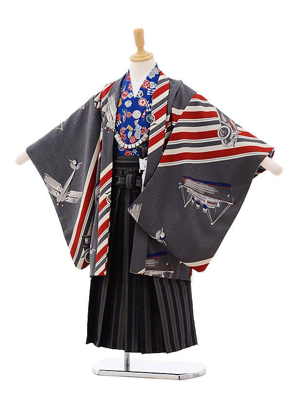 かんたん七五三(5歳男の子袴)5902 モダンアンテナ グレー 乗り物×灰袴