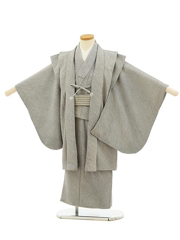 七五三レンタル(5歳男児)5908(高級正絹 総絞り)グレー絞りアンサンブル