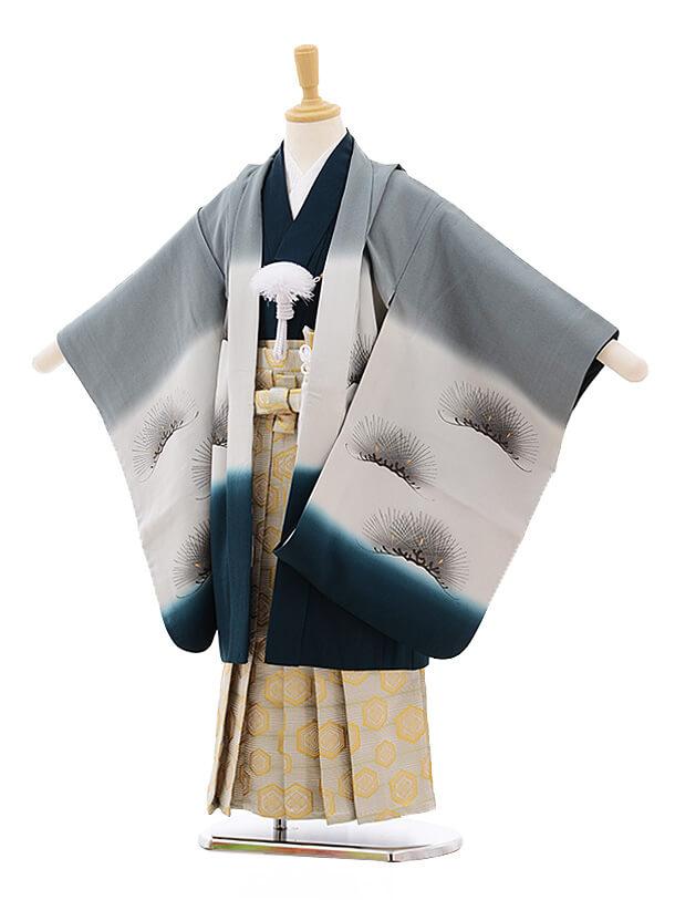 七五三レンタル(5歳男袴)A127 グレーぼかし 富士に武将