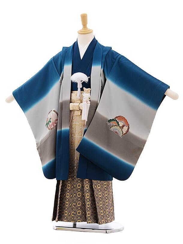 七五三レンタル(5歳男袴)A128 ブルーぼかし 富士に小槌