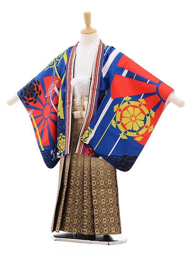 七五三レンタル(5歳男袴)A130 ブルー地 青海
