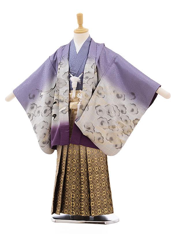 七五三レンタル(5歳男袴)A131 パープルぼかし 風神雷神