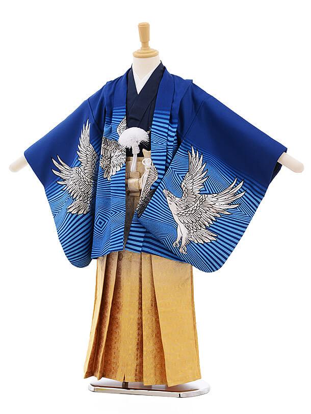 七五三レンタル(5歳男袴)A134 ブルー地 ゴールド鷹