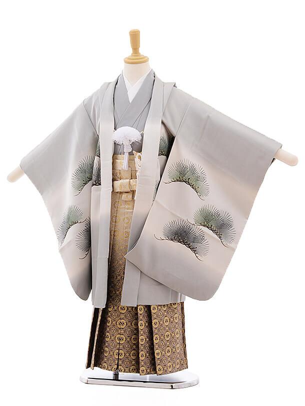 七五三レンタル(5歳男袴)A138 グレー地 松に武将 (正絹)