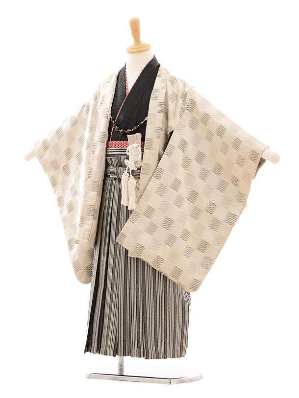 七五三(5歳男袴)D014 ひさかたろまんベージュ×シルバー袴