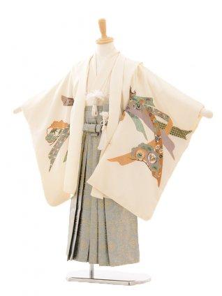 七五三(5歳男袴)D020 アイボリー鷹に束ね熨斗×グレー袴