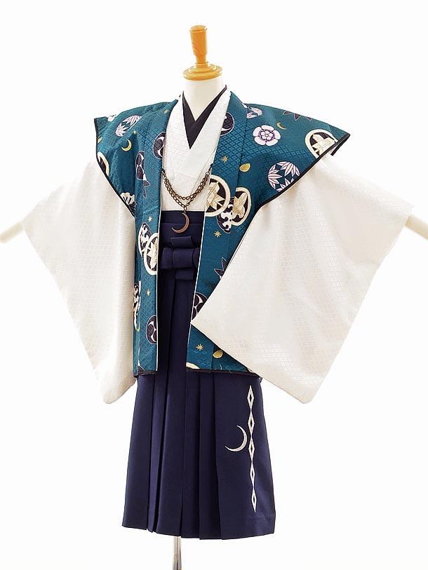 七五三(5歳男袴) F018 JAPAN STYLE 白 緑×紺袴