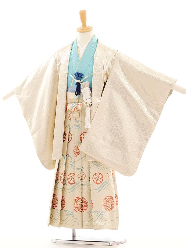 七五三(5歳男袴) F022 ひさかたろまん ゴールド×ベージュ地ラメ袴