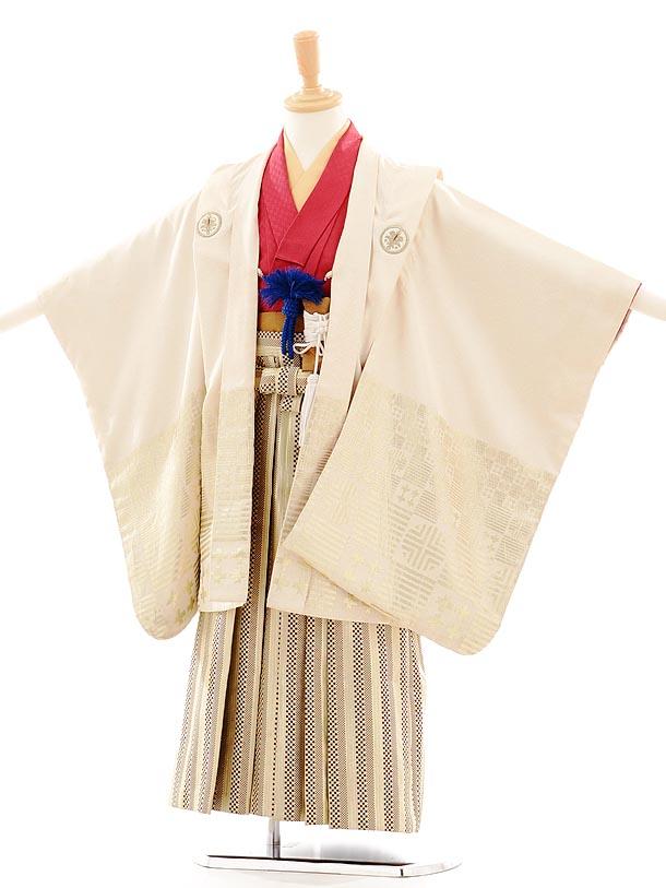 七五三(5歳男袴) F023 ひさかたろまん クリーム×ベージュ地金縞袴