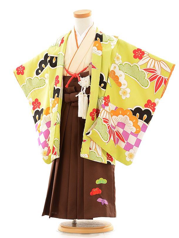 七五三(3歳男袴) F032 ぷちぷり 黄緑×クリーム