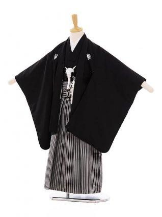七五三(5歳男袴) F115 黒地 竜馬×黒縞袴