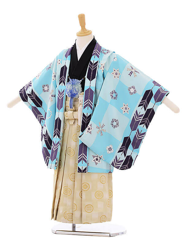七五三(5歳男袴) F117 式部浪漫 水色 矢×ベージュ地に金袴