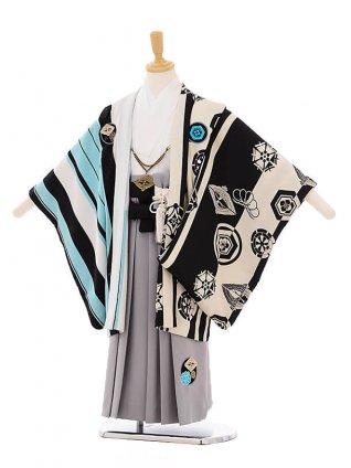 七五三(5歳男袴) F118 JAPAN STYLE 水色×グレー袴