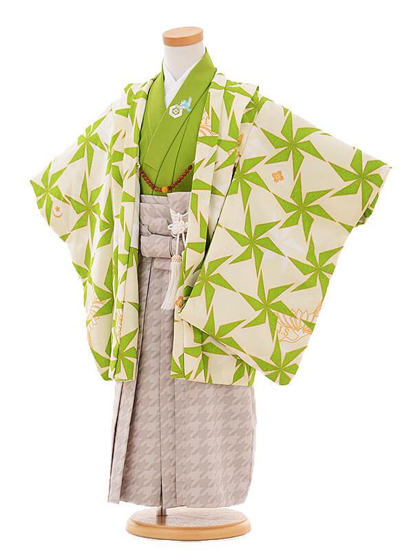 七五三(3歳男袴) F125 JAPANSTYLE クリーム地 グリーン風車