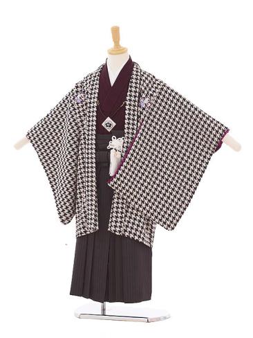 七五三(5歳男袴) F130 JAPANSTYLE 黒 千鳥格子×黒縞袴