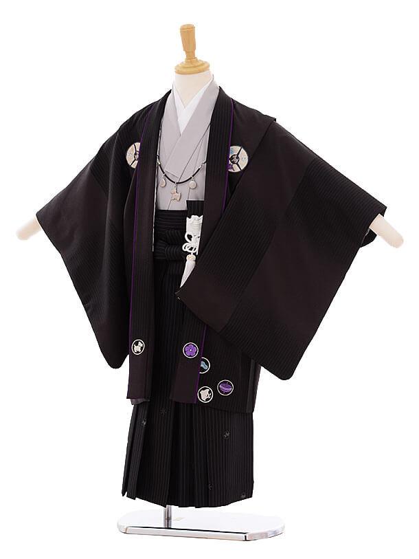 七五三(5歳男袴) F133 ポンポネット 黒 丸紋×黒縞袴