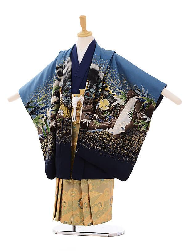 七五三(5歳男袴) F139 ブルーグレー 龍×くすみカーキ袴