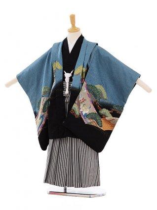 七五三(5歳男袴) F143 ブルーグレー 龍×黒縞袴