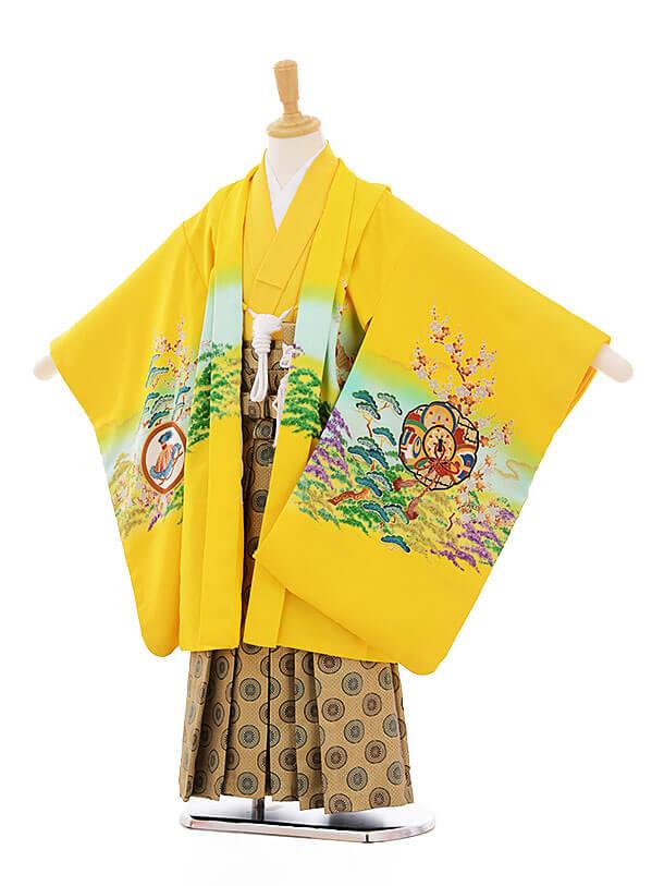 七五三(5歳男袴) F151 黄色 松 小槌に鷹
