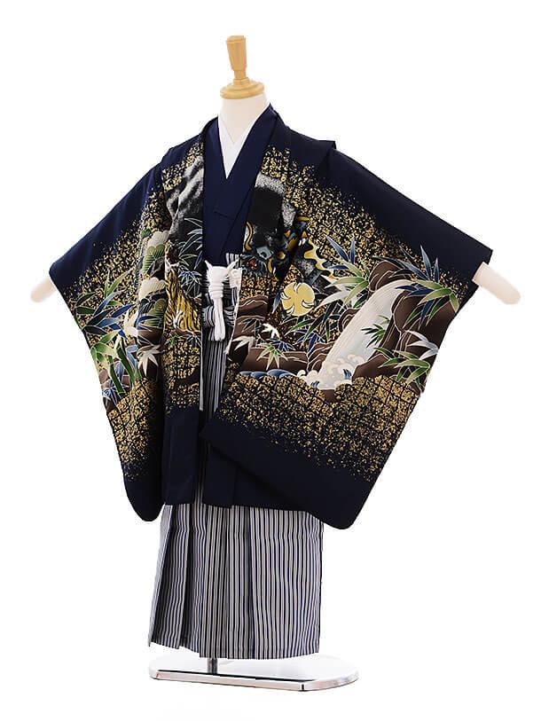 七五三(5歳男袴) F153 紺地 龍×紺縞袴