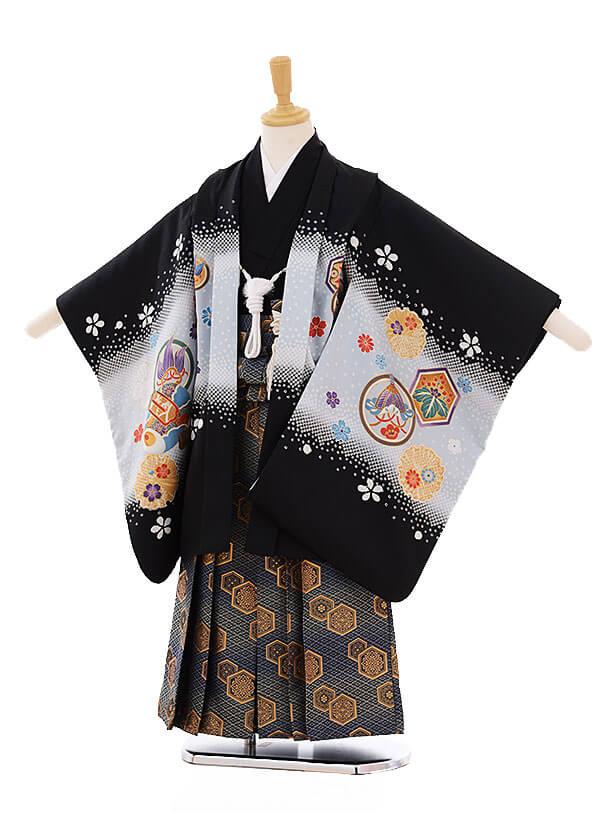七五三(5歳男袴) F158 紺地 梅にかぶと×紺地袴