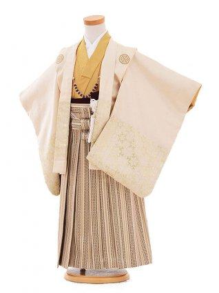 七五三(5歳男袴) F160 クリーム色 丸紋ベージュ地