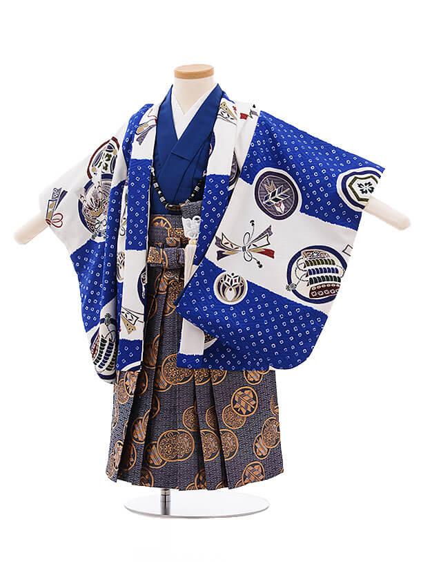 七五三レンタル(2歳男袴)F247 白×ブルー 市松に丸紋