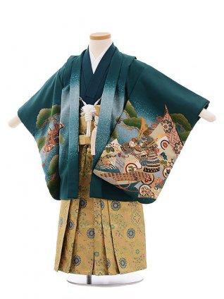 七五三レンタル(3歳男袴)F256 グリーン地 兜